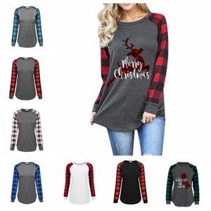여성 격자 무늬 크리스마스 T 셔츠 플러스 사이즈 크리스마스는 엘크 긴 소매 셔츠는 편지 패치 워크 티즈 커튼 캐주얼 블라우스 목 Blusas의 D6823 인쇄 탑