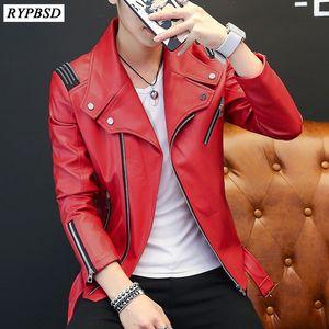PU Mens Leather Jacket Classic Design New 2020 Fashion Red White Black Autumn Slim Zipper Biker Jacket Men Faux Leather Coat