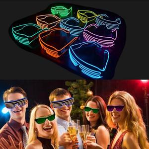 OOA3787 Partido del obturador El alambre de neón de LED se encienden Lentes Iluminación Clásica Luz brillante Festival Gafas 10pcs
