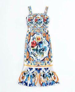 유럽과 미국의 여성 의류 2019 새로운 여름 파란색과 흰색 도자기 인쇄 패션 condole 벨트 드레스