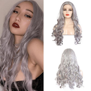 Charisma Sliver Grey Long Wavy Wig For Black Women Synthetic Lace Front Wigs Heat Resistant Natural Hairline Hair Cosplay Wig
