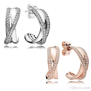Authentic 925 Sterling Silver Hook Earring with Original box Fit Pandora Jewelry Rose Gold Stud Earring Women Wedding Gift Earrings