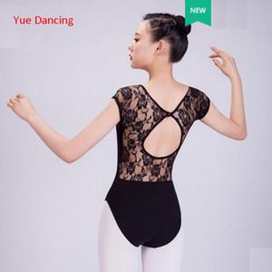 Kadınlar İçin Kostüm Dans Giyim Jimnastik Leotard Leotards Dans Siyah Bale Leotard Yetişkin Kısa Kollu Dantel Balesi
