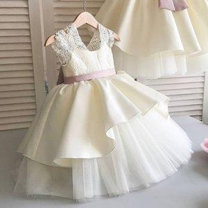 Menina de flor barata Lace Dresse Backless cetim vestido de baile de tule Pouco casamento menina vestidos baratos Comunhão Pageant Vestidos Vestidos F250