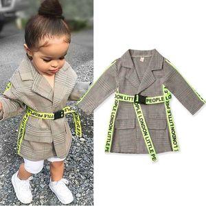 2019 nuovo cappotto di modo ragazza formale bambino del bambino del capretto vestiti lunga cintura autunno e calda giacca invernale all'aperto per bambini ragazza LY191225