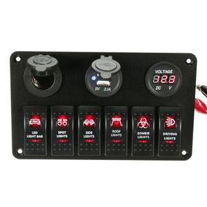 Envío gratuito Negro 6 Gang Barco Marino Láser Rojo LED Interruptor oscilante Panel Interruptor de circuito Cargador USB Zócalo precableado