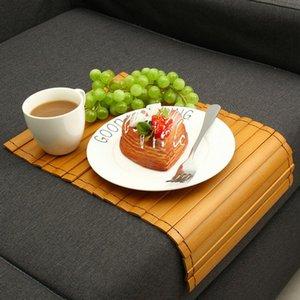 Bamboo Sofa Plateau Bras de repos Snack Table basse Tapis Bureau napperon portable pour la maison HVR88
