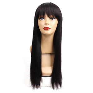 Longue ligne droite perruques de cheveux humains pour les femmes perruques pas chères