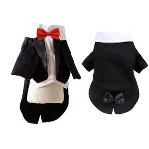 Boy Tuxedo Pet Cat Dog Coat Jacket Clothes Bow Tie Small Dog Clothes Kitten Wedding Chihuahua Dress Black Pet Party Clothing