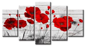 Red Poppy Abstract Flowers Wall Art Painting Canvas Black and White Red Scenery Landscape for Living Room Framed Ready to Hang
