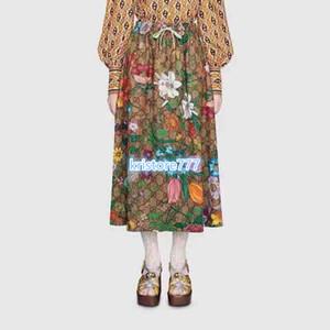 Женская Письмо Flora печати Джерси Юбка Платье High End Пользовательские девушки Runway Casual Luxury Design Vintage Activewear Плиссированные Длинные юбки 2020