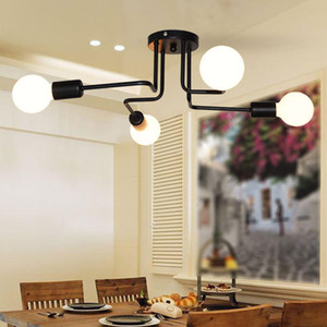 4 6 8 Heads Multiple Rod Wrought Iron Ceiling Light Retro Industrial Loft Nordic Dome Lamp for Home Decor Dinning Cafe Bar Black White
