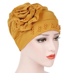 Women Fashion Beading Muslim Inner Hijabs Flower Stretch Cotton Cap Hijab Islamic Hat Head Headscarf  Turban Solid Color