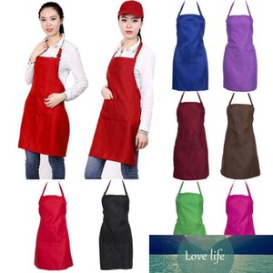 Thicken Cotton Household Cleaning Tools Polyester Blend Anti-wear Cooking Kitchen Bib Apron With Pockets