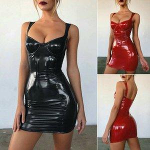 2019 Sexy 숙 녀 Women 드레스 여름 민소매 Black Red Solid Sexy Faux Leather Bodycon 자 클럽 칵테일 Mini 드레스