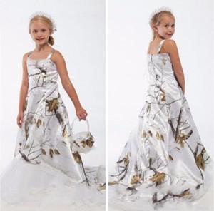 Красивый белый Real Tree Camo кружева цветок девочки платья на заказ Интернет малышей Детские Формальная свадебная одежда Камуфляж сатин Birthday Party платья