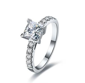 1ct Impressionante Principessa Cut Stunning Sona Sintetico Diamanti Anello Per Le Donne Impegno Matrimonio Nuziale 925 Anelli D'argento Monili Piacevoli C19041501