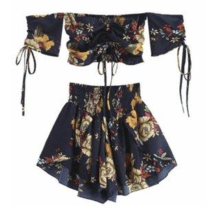 İki Parça Elbise Kapalı Omuz Cinched Çiçek Kadın Seti Slash Boyun Kısa Kollu Kırpma En Yüksek Bel Şortlar Plaj Boho Yaz Summer