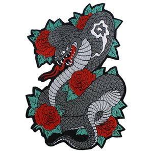 Large Embroidered Rose Snake Back Patches DIY Iron on Motorcycle Jacket Applique Decorated Custom Badges Accessories