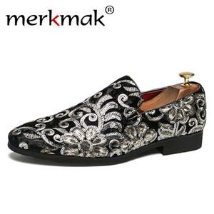 Merkmak Fiori modello Mocassini Uomini ricamo confortevole Casual Men Dress Shoes Classic Slip On Shoes uomo Flats grande formato 37-48