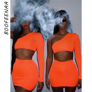 BOOFEENAA Kadınlar Neon Bodycon 2 Parça Set Yaz 2019 Yüksek Sokak Night Out Kulübü Kıyafetleri Eşleşen Kısa Setleri Kırpma Üst Etek