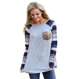 Pulls Chemises Avec Poche De Sirène Patchwowk Imprimer T-shirt À Manches Longues Automne Mode Womens Accueil Vêtements 20kf E1