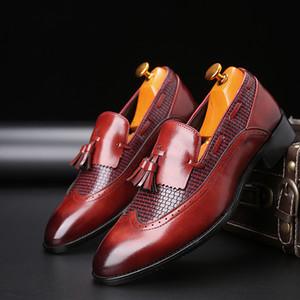 Kleid-Schuhe Männer Social Schuh-Party-elegante echte Leder-Schuhe Italienisch Formal Große Größen Rot Braun Schwarz