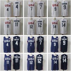 Primos Hombres 2016 jerseys del baloncesto EE.UU. Dream Team 4 Stephen Curry Kyle Lowry DeMar DeRozan Thompson DeMarcus Harrison Barnes Draymond verde