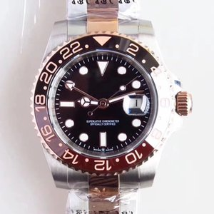 Открытый топ подарок розовое золото мужские часы двухцветный браслет из нержавеющей стали мужские часы черный циферблат 40 мм автоматическое движение