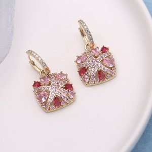 wholesale New Fashion Jewelry CZ Colorful Australia Crystal Square Starfish Small Huggie Hoop Earrings Mujer Pendiented S502
