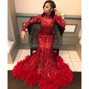 Red Mermaid African Prom Dresses 2019 New Feather Long Sleeve Floor Length Sequined High Neck Formal Evening Dress Party Gowns Prom Gowns