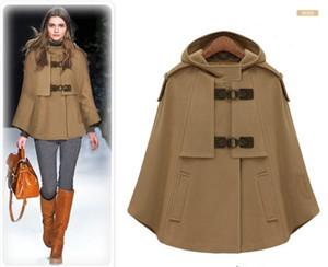 Dark blue Cape Coat Steampunk Style Wool Short Jacket with Long Cape Winter Design Woman's cashmere Coat Plus size