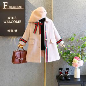 2019 осень зима новый приход девушки принцесса моды шерстяное пальто детские куртки с луком и жемчугом