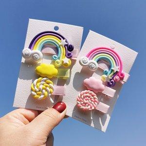 인 귀여운 소녀 헤어 액세서리 다채로운 Raindbow 클라우드 사탕 디자인 헤어핀 소녀 헤어 액세서리 키즈 보석 생일 선물 머리 깎기
