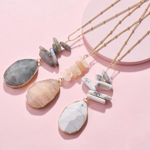 HUIDANG Vergoldung Dainty lange Kugelkette Natürliche Opal Labradorite Stapel Stein-Anhänger Halsketten für Frauen