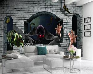 Foto feita sob encomenda 3d Wallpaper Bat e Horror Haunted House Indoor fundo TV Wall Decoração Mural Wallpaper