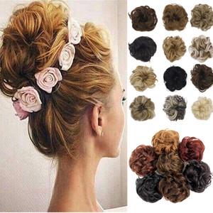 여자 곱슬 곱슬 곱슬 머리와 scrunchie chignon과 갈색 회색 합성 머리 랩 지저분한 롤빵에 랩 랩 포니 테일 섬유 topknot