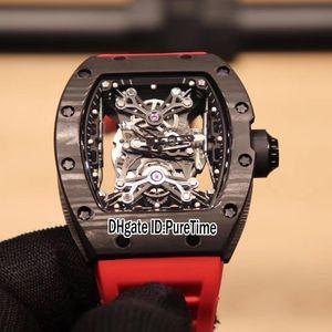 Новый RM27-01 NTPT USA Limited Edition Miyota Автоматические мужские Часы Черный Углеродное Волокно Скелет Наберите Красные Резиновые Часы PureTime E73B2