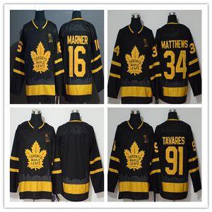 91 John Tavares 2019 Toronto Maple Leafs X ovo Altın Sınırlı Üretim Jersey 34 Auston Matthews 16 Mitch Marner Hokeyi Formalar Siyah