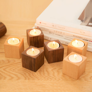 Kerzenständer Duftkerze Halter cube Holz kreative Aromatherapie Holz nordic Home decor Kirche party Tischdekoration