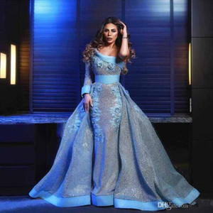 Sparkly Sliver paillettes sirène robes de bal détachable train une épaule dentelle Applique Abric Dubaï Celebrity robes de soirée