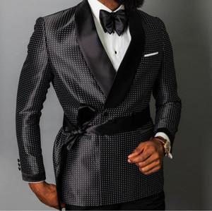 2019 Hommes Blazer Dernières Stylisme double boutonnage Groom meilleur homme robe de mariée sur mesure 3 pièces (veste + pantalon + ceinture)