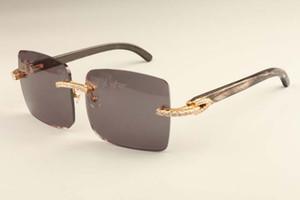 2019 nuevo diamante de la moda de lujo ultra ligero cuadro de grandes gafas de sol 352412-D4 cuernos patrón natural negro espejo piernas gafas de sol del envío de DHLfree
