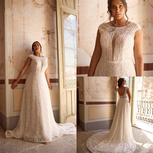 Plus Size Bohemian Wedding Dresses Sexy Backless Full Appliqued Lace Ruched Bridal Gown Boho Custom Made Sleeveless Sweep Train Bridal Dress