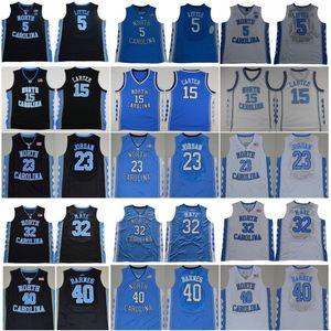 Ncaa North Carolina Tar Heels 23 Michael Nassir 5 Little 15 Carter Luke 32 Maye Barnes Vintage UNC Blu Nero Bianco Uomo Maglie college