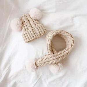 Children's twist rabbit fur earmuffs autumn and winter suit hat scarf