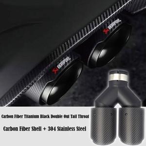 1pcs Geral dupla Akrapovic Exhaust Tip fibra de carbono mudo de escape tubo de escape Quatro Silenciador Dica AK