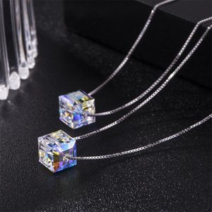 Brand design shining crystal necklace with sugar cube pendant necklace 925 sterling silver chain fashion jewelry accessories