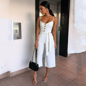 Womens Straight Jumpsuit New 2019 Female Sleeveless Romper Loose Club Playsuit Wide Leg Trouser Lace Up Belt Jumpsuits Clubwear