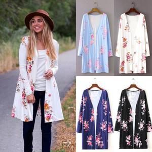 Sexy Donna Autunno manica lunga stampa floreale giacca cardigan eleganti maglioni cappotto Top Cover Up soprabito Beachwear Plus Size